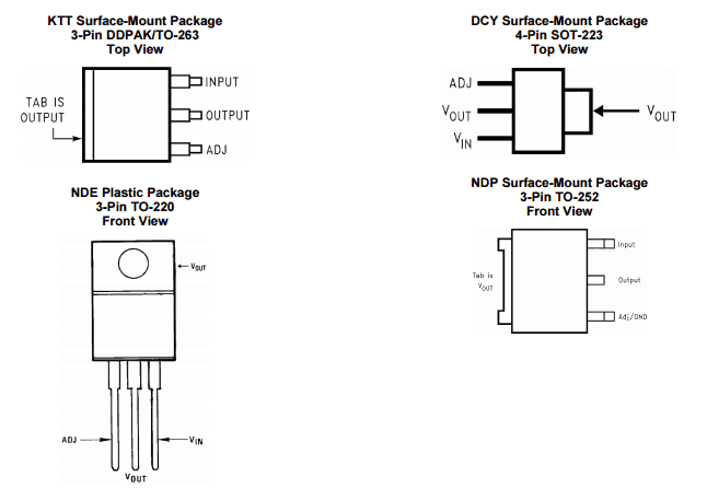 lm317 pinout Fuente: TexaxInstruments