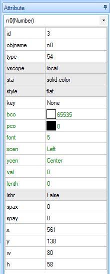 Atributos en Nextion Editor