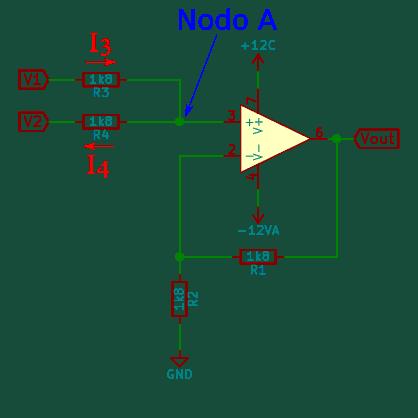 Amplificador sumador no inversor - corriente nodo